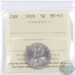 5-cent 1928 ICCS Certified MS-63