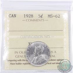 5-cent 1928 ICCS Certified MS-62