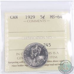 5-cent 1929 ICCS Certified MS-64