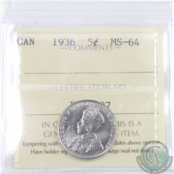 5-cent 1936 ICCS Certified MS-64