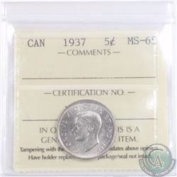 5-cent 1937 ICCS Certified MS-65