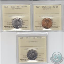 5-cent 1937, 1943 & 1948 ICCS Certified MS-64. 3pcs