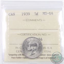 5-cent 1939 ICCS Certified MS-64