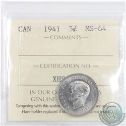 5-cent 1941 ICCS Certified MS-64