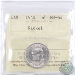 5-cent 1942 Nickel ICCS Certified MS-64, A Near Flawless coin with exceptional eye appeal.