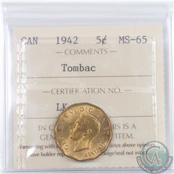 5-cent 1942 Tombac ICCS Certified MS-65. A nice coin with a soft glow. Great example of this variety
