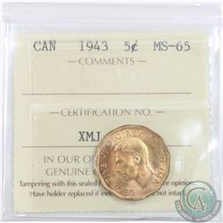 5-cent 1943 ICCS Certified MS-65