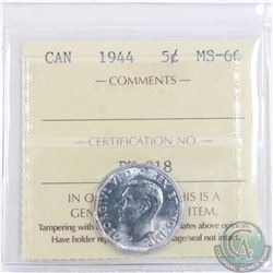 5-cent 1944 ICCS Certified MS-66