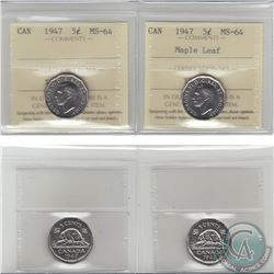 5-cent 1947 & 1947 Maple Leaf ICCS Certified MS-64. 2pcs