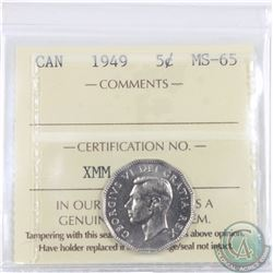 5-cent 1949 ICCS Certified MS-65. An exceptional eye appealing coin with soft marble luster.