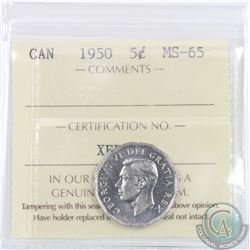 5-cent 1950 ICCS Certified MS-65