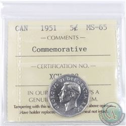 5-cent 1951 Commemorative ICCS Certified MS-65.