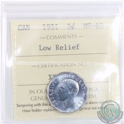 5-cent 1951 Low Relief ICCS Certified MS-65