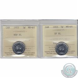 5-cent 1953 NSF FL & 1953 SF NL ICCS Certified MS-65. 2pcs