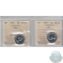 5-cent 1953 SF & 1953 NSF ICCS Certified MS-65. 2pcs