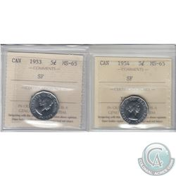 5-cent 1953 SF & 1954 SF ICCS Certified MS-65. 2pcs