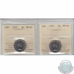 5-cent 1955 & 1957 ICCS Certified MS-65. 2pcs