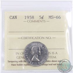 5-cent 1958 ICCS Certified MS-66. Tied for the finest known POP=10
