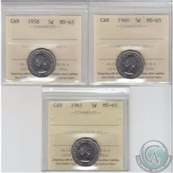 5-cent 1958, 1960 & 1961 ICCS Certified MS-65. 3pcs