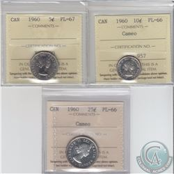 5-cent 1960 ICCS PL-67, 10-cent PL-66 Cameo & 25-cent PL-66 Cameo All ICCS Certified. 1960 5-cent &