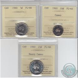5-cent 1960 ICCS PL-66, 10-cent Cameo PL-65 & 25-cent Heavy Cameo PL-66, All ICCS Certified. 3pcs