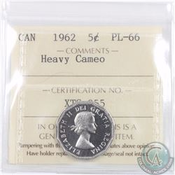 5-cent 1962 ICCS Certified PL-66 Heavy Cameo. Tied for finest known