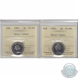 5-cent 1963 & 1965 ICCS Certified PL-66 Heavy Cameo. 2pcs.