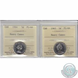 5-cent 1964 & 1965 ICCS Certified PL-66 Heavy Cameo. Both tied for the finest known. 2pcs