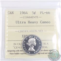5-cent 1964 ICCS Certified PL-66 Ultra Heavy Cameo. Finest grade known!