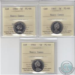 5-cent 1964, 1965 & 1966 ICCS Certified PL-66 Heavy Cameo. 3pcs