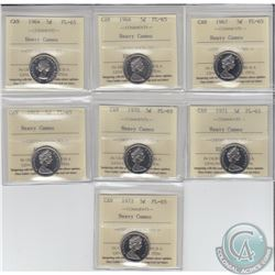 5-cent 1964, 1966, 1967, 1968, 1970, 1971 & 1972 ICCS Certified PL-65 Heavy Cameo. 7pcs