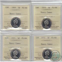 5-cent 1969, 1970, 1971 & 1972 ICCS Certified PL-66 Heavy Cameo. 1969, 1970 & 1972 are tied for the