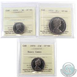 5-cent 1970 ICCS Certified SP-66, 25-cent SP-66 Heavy Cameo & Nickel Dollar SP-66. 3pcs