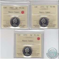 5-cent 1969, 1971 & 1972 ICCS Certified PL-66 Heavy Cameo. 1969 & 1972 are tied for finest known. 3p