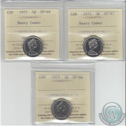 5-cent ICCS Certified 1971 Heavy Cameo SP-66, 1972 Heavy Cameo SP-67 & 1975 SP-66. 3pcs