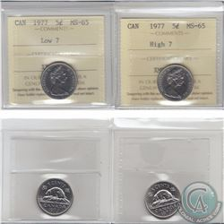 5-cent 1977 Low 7 & High 7 ICCS Certified MS-65. 2pcs