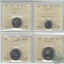 5-cent 1977 Low 7, 10-cent, 25-cent & 50-cent ICCS Certified MS-65. 4pcs