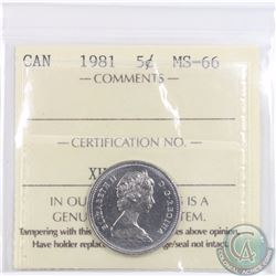 5-cent 1981 ICCS Certified MS-66. Finest known grade! POP=4!