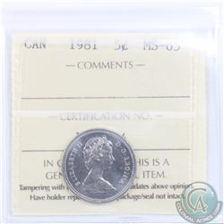 5-cent 1981 ICCS Certified MS-65.