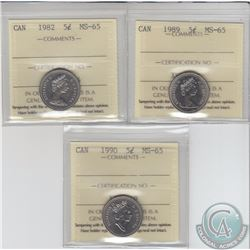 5-cent 1982, 1989 & 1990 ICCS Certified MS-65. 3pcs