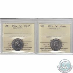 5-cent 1984 & 1985 ICCS Certified MS-65. 2pcs