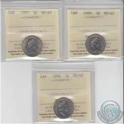 5-cent 1987, 1989 & 1990 ICCS Certified MS-65. 3pcs