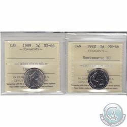 5-cent 1989 ICCS Certified MS-66 & 1992 MS-66 Numismatic BU. 2pcs