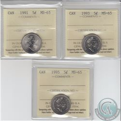 5-cent 1991, 1993 & 1995 ICCS Certified MS-65. 3pcs