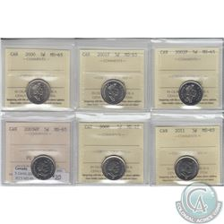 5-cent 2000, 2001P, 2002P, 2003WP, 2008 & 2011 ICCS Certified MS-65. 6pcs