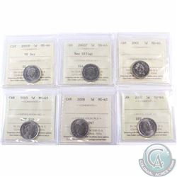 5-cent 2001 MS-65, 2003P New Effigy MS-65, 2005P VE Day MS-66, 2007 MS-65, 2008 MS-65 & 2010 MS-65 A
