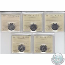 5-cent 2005P, 2008, 2011, 2014 & 2015 ICCS Certified MS-66. 5pcs