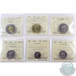 5-cent 2015, 10-cent, 25-cent, 50-cent, Loon $1 & $2 John McCrae ICCS Certified MS-66. 6pcs