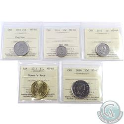 5-cent 2016, 10-cent, 25-cent, 50-cent & Women's Right to Vote Dollar ICCS Certified MS-66. 5pcs