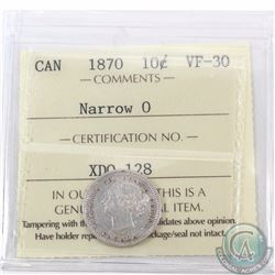 10-cent 1870 Narrow 0 ICCS Certified VF-30